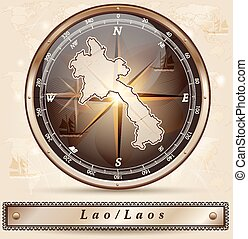 Map of Laos with borders in bronze