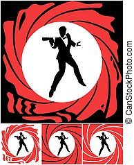 Spy - Silhouette of secret agent. Illustration is in 4...
