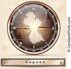 Map of Guyana with borders in bronze