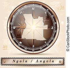 Map of angola with borders in bronze