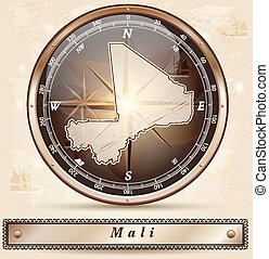Map of mali with borders in bronze