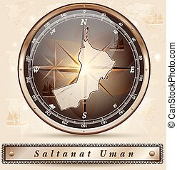 Map of Oman with borders in bronze