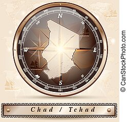 Map of Chad with borders in bronze