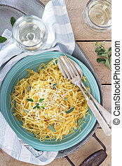 Spaghetti squash with herbs and parmesan top view