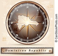 Map of Dominican Republic with borders in bronze
