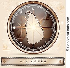 Map of Sri Lanka with borders in bronze
