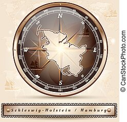 Map of Schleswig-Holstein with borders in bronze