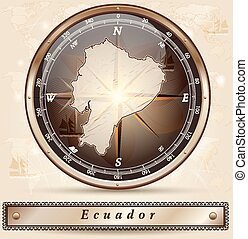 Map of ecuador with borders in bronze