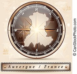 Map of auvergne with borders in bronze