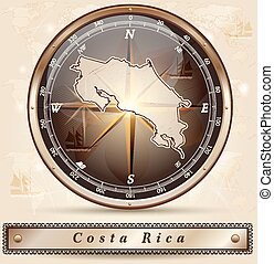 Map of Costa-Rica with borders in bronze
