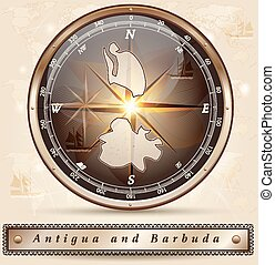 Map of Antigua-Barbuda with borders in bronze