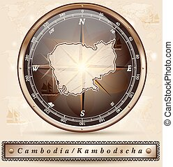 Map of Cambodia with borders in bronze