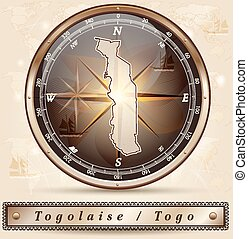 Map of togo with borders in bronze