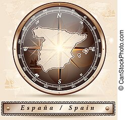 Map of Spain with borders in bronze