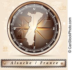 Map of Alsace with borders in bronze