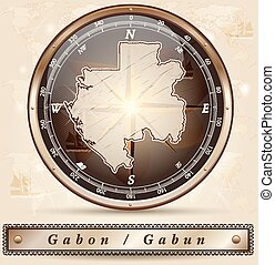 Map of gabon with borders in bronze
