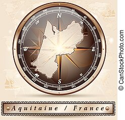 Map of aquitaine with borders in bronze