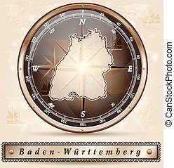 Map of Baden-Wuerttemberg with borders in bronze