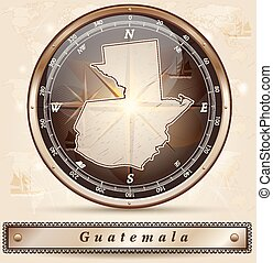 Map of Guatemala with borders in bronze
