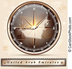 Map of United Arab Emirates with borders in bronze