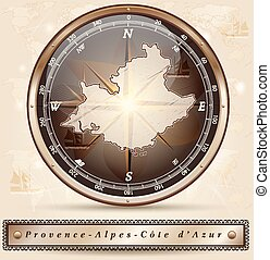 Map of Provence-Alpes-Cote d Azur with borders in bronze