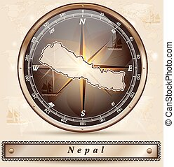 Map of Nepal with borders in bronze