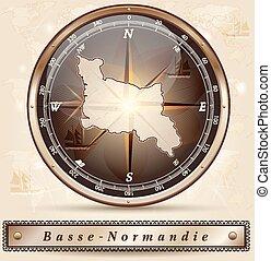 mapa, Od, niższy, Normandy,