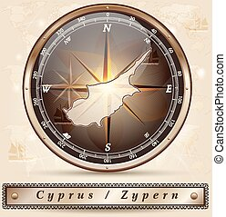 Map of Cyprus with borders in bronze