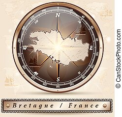 Map of Brittany with borders in bronze