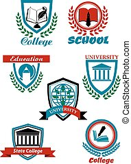 Heraldic symbols for university and college education design...