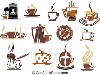 Brown and beige coffee icons - Coffee icons for cafe and...