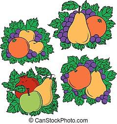 Vintage colorful fruit compositions