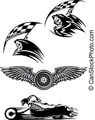 pretas, Motocross, mascote, desenho,
