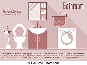 Bathroom interior design in flat style