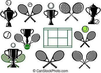 Tennis tournament icons and elements - Design elements for...