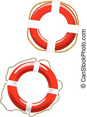 Life buoy icons on white - Red and white glossy life buoys...