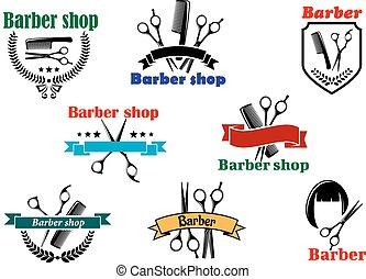 Barber shop signboard and emblemdesigns - Barber shop...