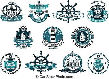 Dark blue nautical labels - Blue marine labels, logo or...