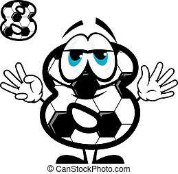 Soccer number eight in cartoon style - Cute cartoon number...