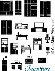 Black wooden furniture flat icons