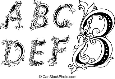 Calligraphic floral letters A, B, C, D, E and F