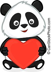 Panda holding heart love - Clipart picture of a panda...