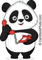 Panda holding a phone