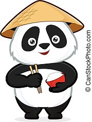 Panda holding a bowl of rice - Clipart picture of a panda...
