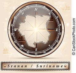 Map of suriname with borders in bronze