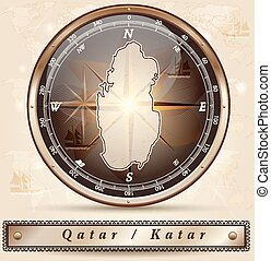Map of Qatar with borders in bronze