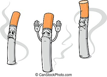 Cartoon cigarette characters with sad emotions