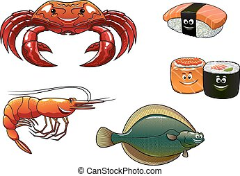 Cartoon animals and seafood characters - Cartoon colorful...