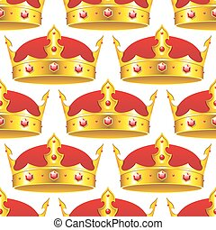 Golden crown in seamless pattern