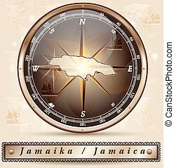 Map of Jamaica with borders in bronze